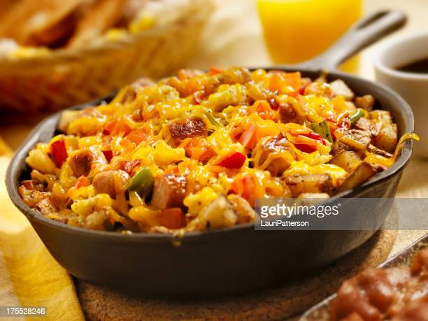 sausage pan scrambler with cheddar cheese - green bell pepper stock pictures, royalty-free photos & images