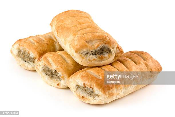 Sausage rolls pastry snacks with meat on a white background