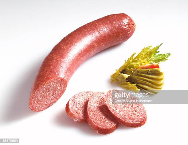 sausage, saveloy - pepperoni stock photos and pictures