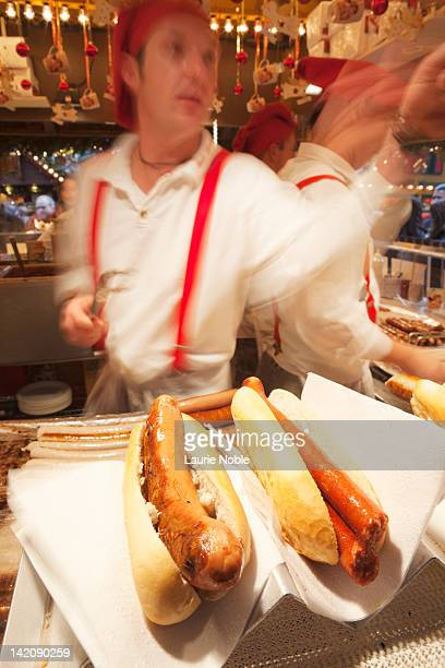 sausage stall, stuttagart christmas fair - one night stand stock-fotos und bilder