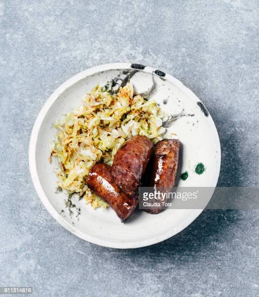 Sausage with braised cabbage
