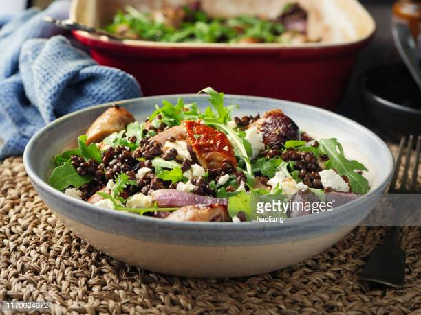 sausage,lentil and goat's cheese salad - course meal stock pictures, royalty-free photos & images
