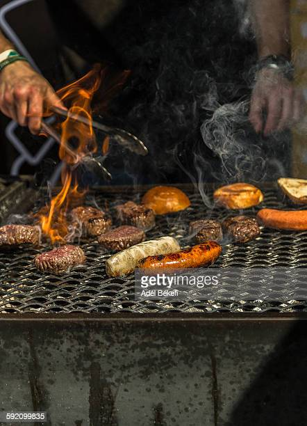 Sausages and meats on barbeque