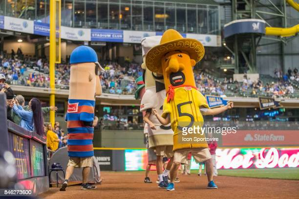 Sausages get ready to race during the first game of the final home series between the Milwaukee Brewers and the Pittsburgh Pirates on September 11 at...