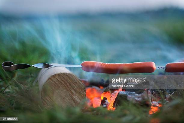 Sausages grilling over a fire