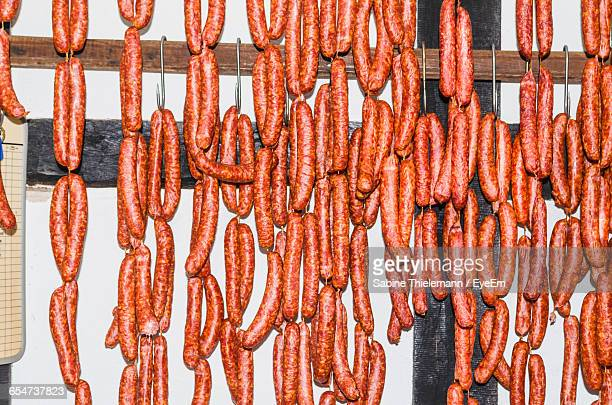 Sausages Hanging In Shop