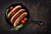 Sausages in a skillet