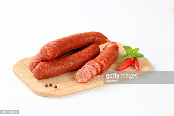 Sausages on a cutting board