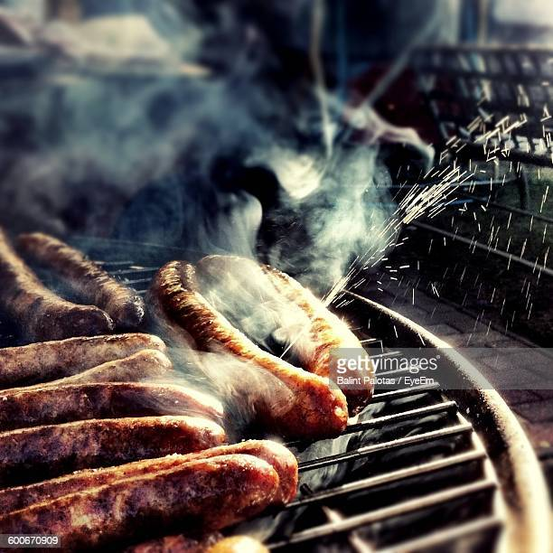 Sausages On Barbeque Grill