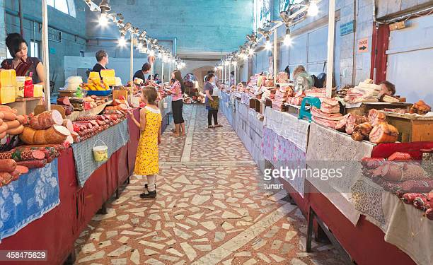 sausages sellers in osh bazaar, bishkek, kyrgyzstan - osh stock pictures, royalty-free photos & images