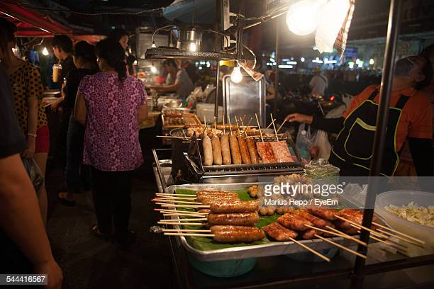 Sausages With Fishballs And Meatballs For Sale At Street Stall