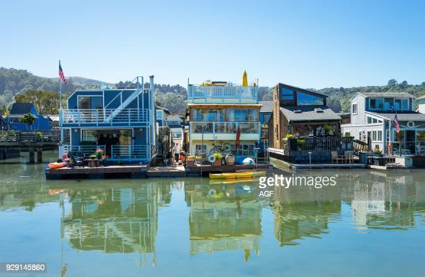 Sausalito USA The colorfully painted House Boats in the outskirts of the country