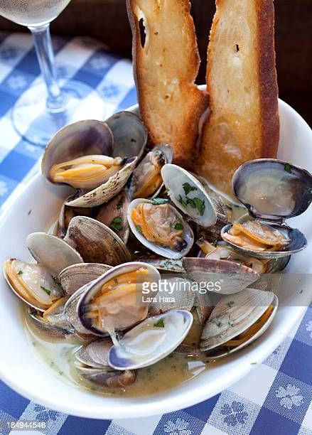 sauteed clams with garlic - fishermans wharf stock pictures, royalty-free photos & images