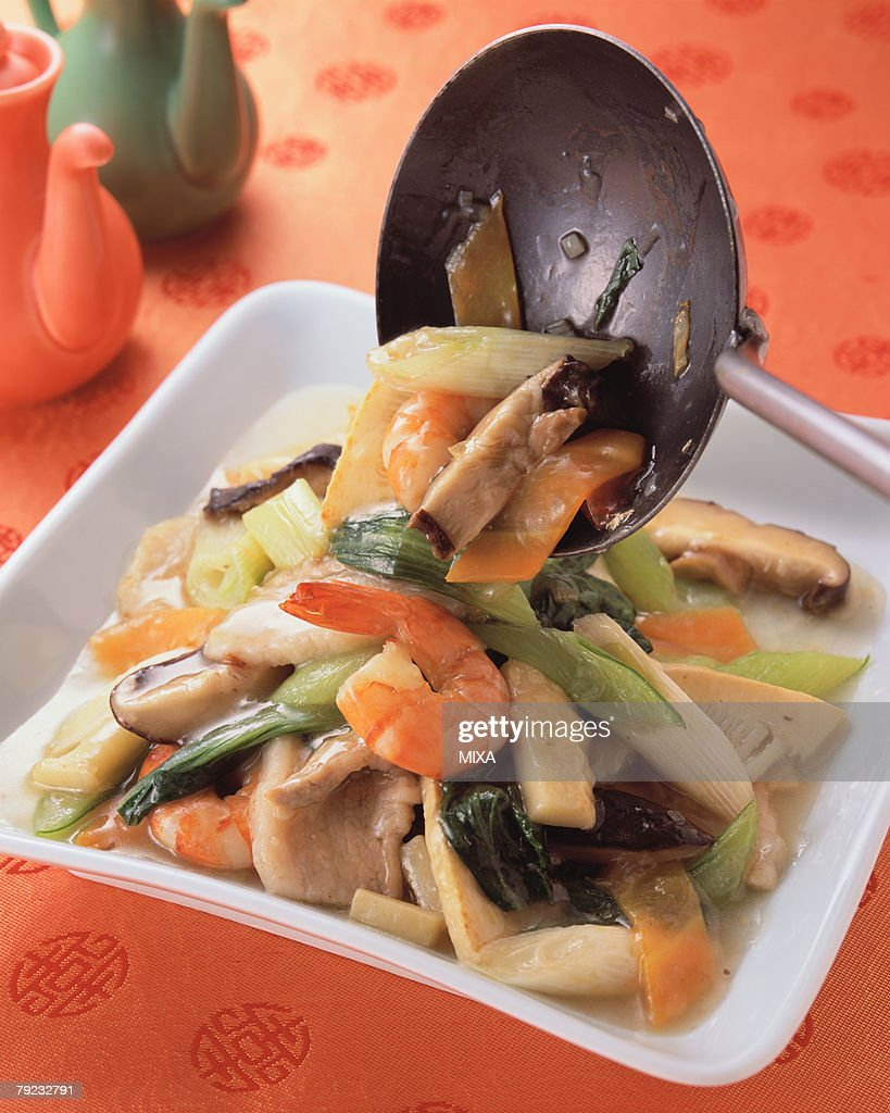 Sauteed Prawn with Vegetables : Stock Photo