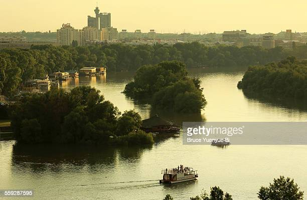Sava River with skyline of Belgrade