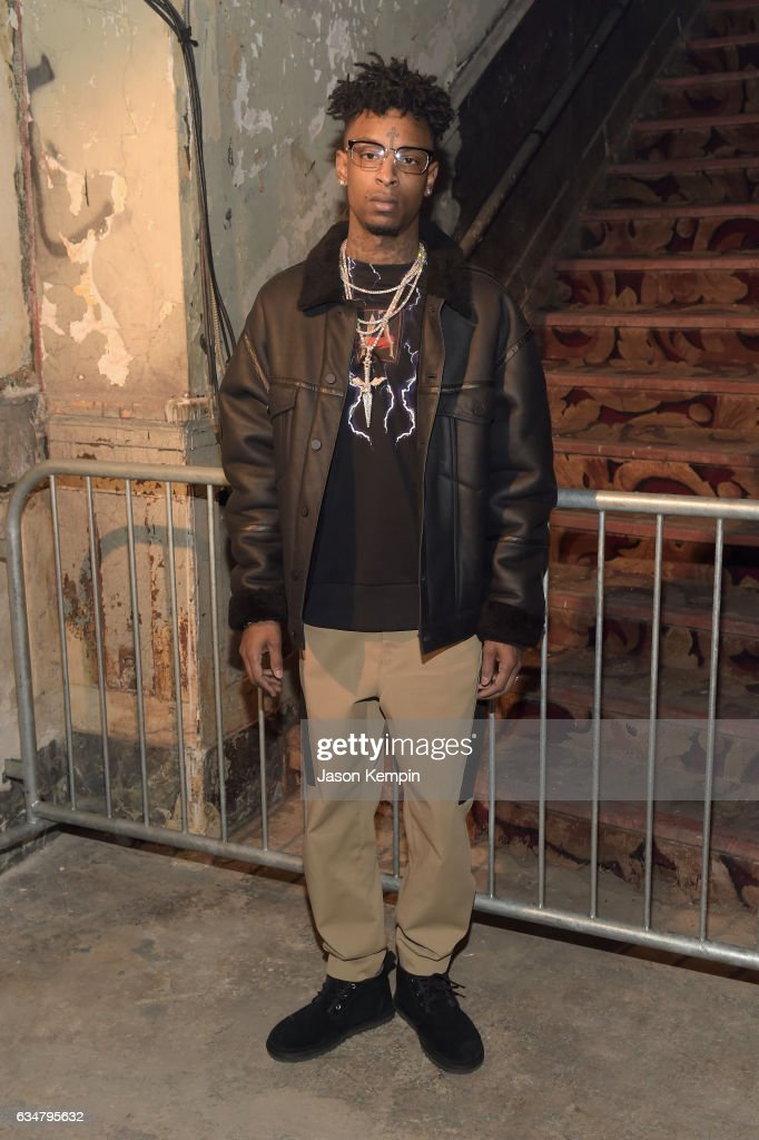 21 Savage attends the Alexander Wang February 2017 fashion show during New York Fashion Week on February 11, 2017 in New York City.