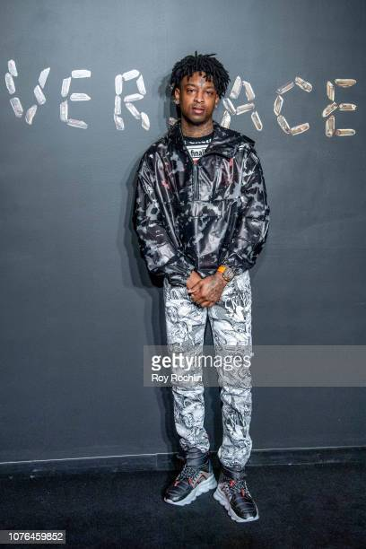 Savage attends the the Versace fall 2019 fashion show at the American Stock Exchange Building in lower Manhattan on December 02 2018 in New York City