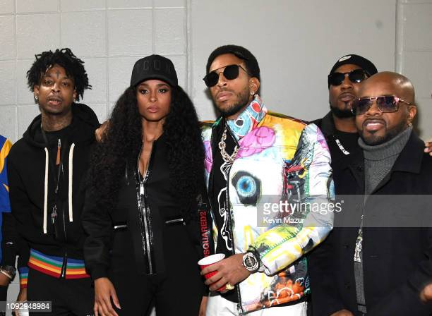 21 Savage Ciara Ludacris Young Jeezy and Jermaine Dupri pose backstage during Bud Light Super Bowl Music Fest / EA SPORTS BOWL at State Farm Arena on...