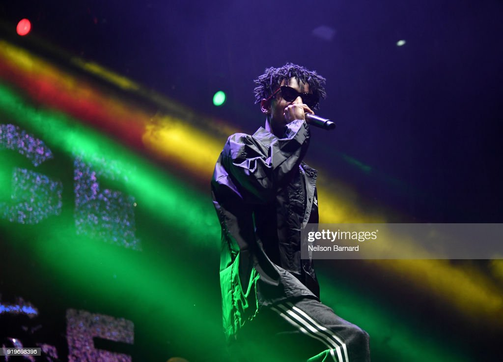 21 Savage performs onstage at adidas Creates 747 Warehouse St. - an event in basketball culture on February 17, 2018 in Los Angeles, California.