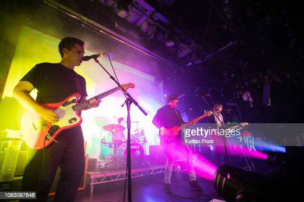 Savage, Sean Yeaton and Austin Brown of Parquet Courts perform at The Academy on November 03, 2018 in Dublin, Ireland.