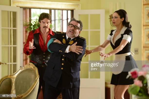 "Savage Seduction"" Episode 504 -- Pictured: Eddie McClintock as Pete Lattimer, Saul Rubinek as Artie Nielsen, Joanne Kelly as Myka Bering--"