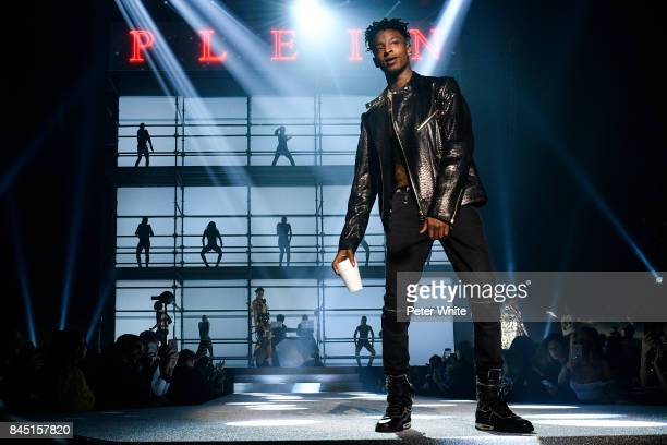 Savage walks the runway at the Philipp Plein fashion show during New York Fashion Week The Shows at Hammerstein Ballroom on September 9 2017 in New...