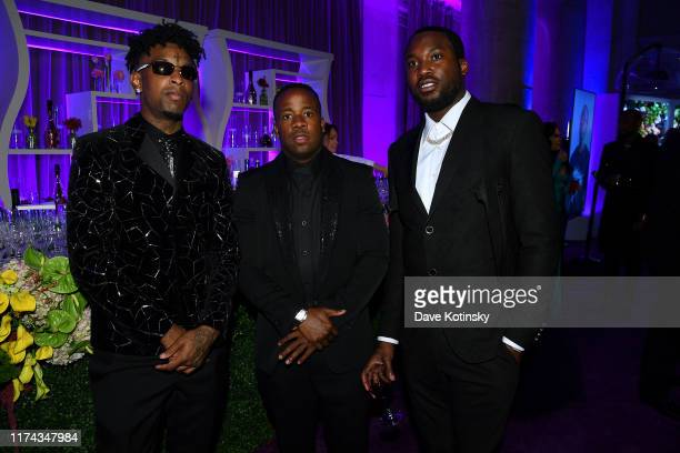 Savage, Yo Gotti, and Meek Mill attend Rihanna's 5th Annual Diamond Ball Benefitting The Clara Lionel Foundation at Cipriani Wall Street on September...