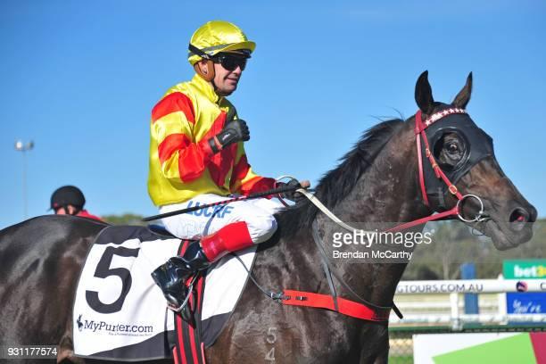 Savaheat ridden by Dean Yendall returns to the mounting yard after winning the Hygain BM78 Handicap at Bendigo Racecourse on March 13 2018 in Bendigo...
