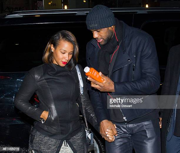 Savannah Brinson and Miami Heat player LeBron James are seen leaving The General restaurant on the streets of Manhattan on January 8 2014 in New York...