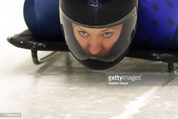 Savannah Graybill of the United States slides during a training session ahead of 2019 IBSF World Cup Bobsled Skeleton at the Mt Van Hoevenberg...