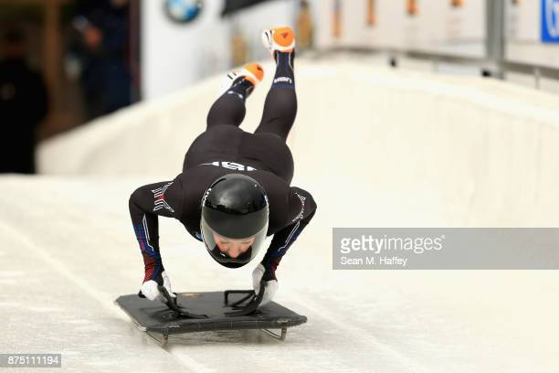 Savannah Graybill of the USA takes a training run in the Women's Skeleton during the BMW IBSF Bobsleigh + Skeleton World Cup at Utah Olympic Park...