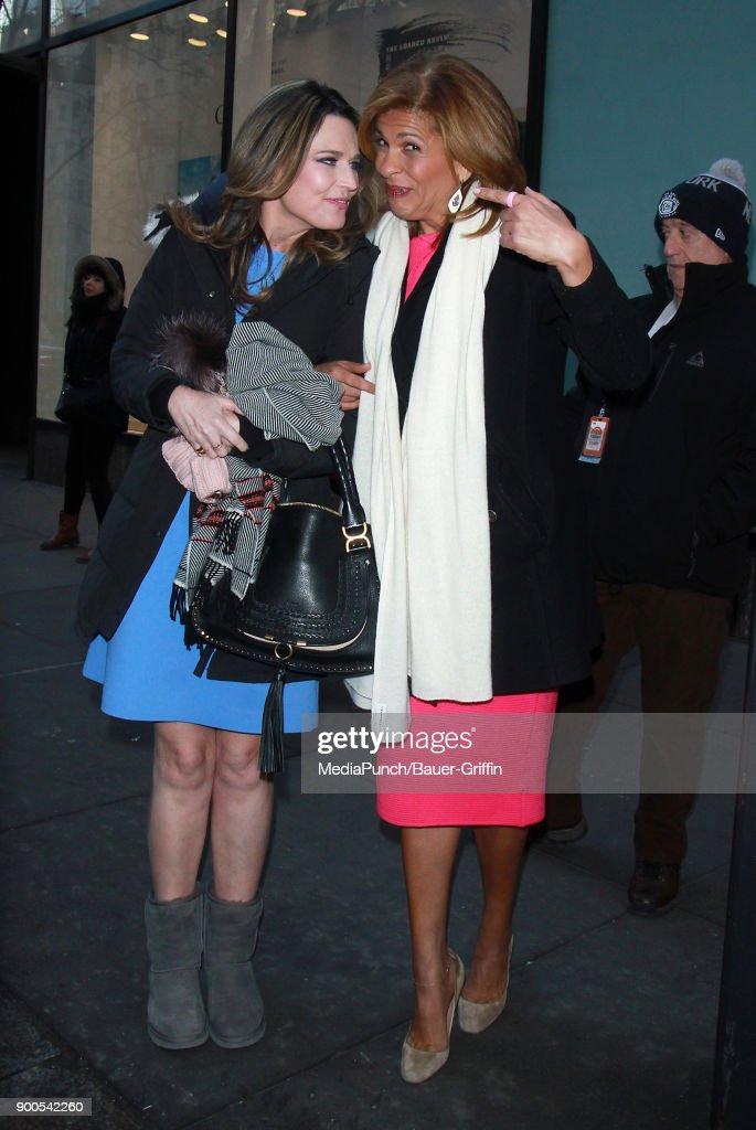 Savannah Guthrie and Hoda Kotb are seen on January 02, 2018 in New York City.