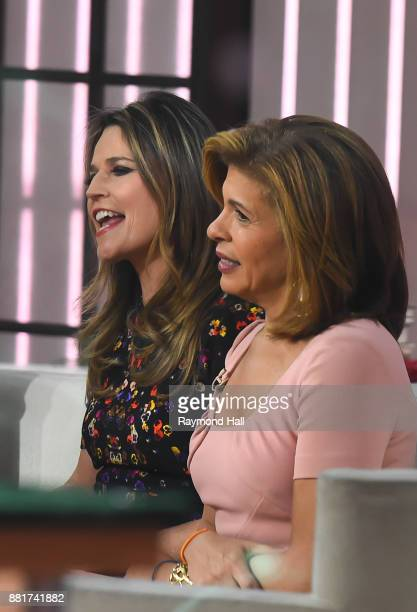 Savannah Guthrie and Hoda Kotb are seen on the set of 'The Today Show' on November 29 2017 in New York City