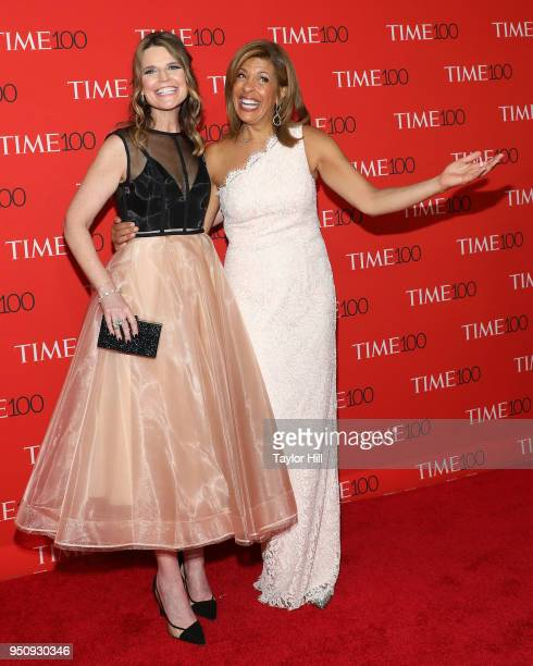 Savannah Guthrie and Hoda Kotb attend the 2018 Time 100 Gala at Frederick P Rose Hall Jazz at Lincoln Center on April 24 2018 in New York City