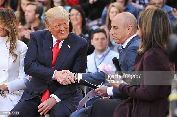 Savannah Guthrie and Matt Lauer interview 2016 Republican presidential candidate Donald Trump during NBC's Today Trump Town Hall at Rockefeller Plaza...