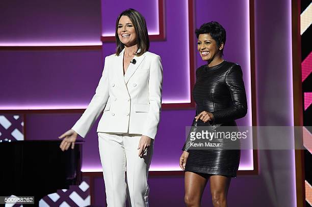 Savannah Guthrie and Tamron Hall speak onstage during Billboard Women In Music 2015 on Lifetime at Cipriani 42nd Street on December 11 2015 in New...