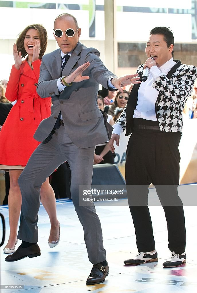 Savannah Guthrie, Matt Lauer and Korean Pop singer Psy performs on NBC's 'Today Show' at Rockefeller Plaza on May 3, 2013 in New York City.