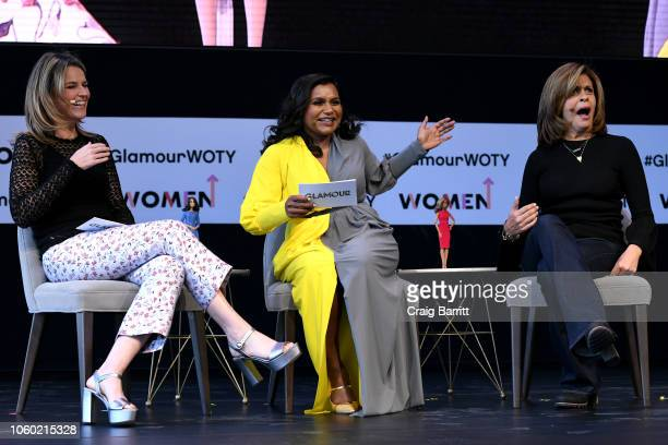 Savannah Guthrie Mindy Kaling and Hoda Kotb speaks onstage during Closing The Dream Gap Showing Girls What's Next panel at 2018 Glamour Women Of The...