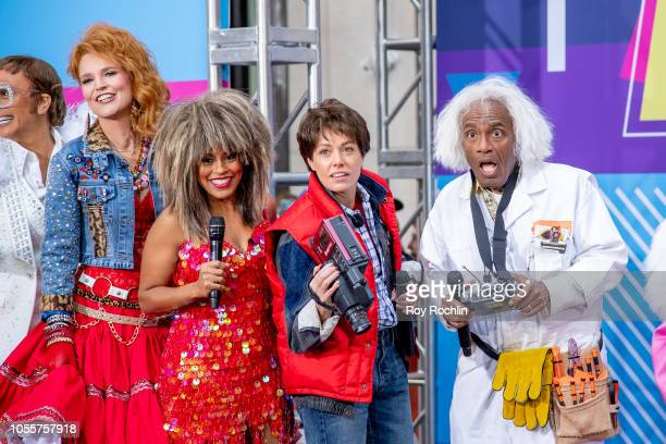 Savannah Guthrie Sheinelle Jones Dylan Dreyer and Al Roker in costume during NBC Today Halloween 2018 show at Rockefeller Plaza on October 31 2018 in...