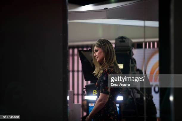 Savannah Guthrie stands on the set of NBC's Today Show November 29 2017 in New York City It was announced on Wednesday morning that long time Today...
