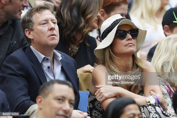 Savannah Guthrie watches the Men's Singles finals match between Kevin Anderson of South Africa and Rafael Nadal of Spain on Day Fourteen of the 2017...