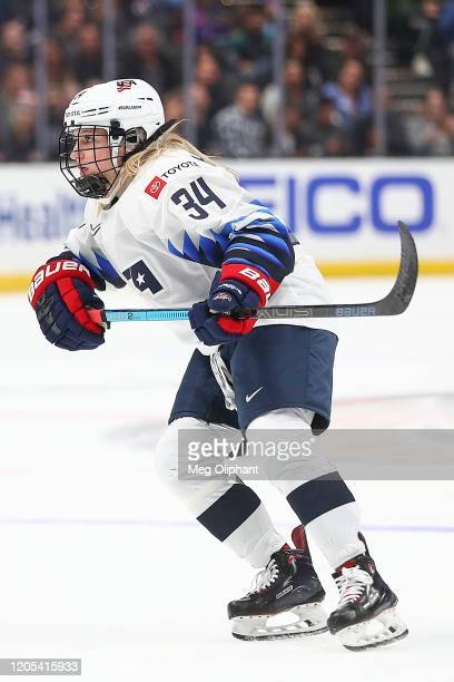 Savannah Harmon of the U.S. Women's Hockey Team in the game against the Canadian Women's National Team at Honda Center on February 08, 2020 in...