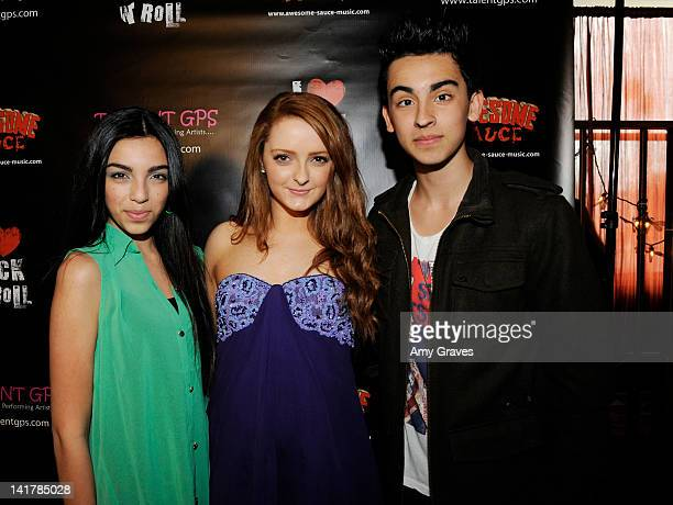 Savannah Hudson, Mackinlee Waddell and Brandon Hudson attends the Shamrock and Roll Concert for St. Jude Children's Hospital on March 17, 2012 in Los...