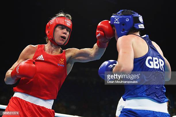 Savannah Marshall of Great Britain or Team GB and Anna Laurell Nash of Sweden compete in their Middleweight 75 kg Women boxing bout on Day 9 of the...