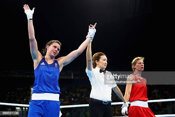 Savannah Marshall of Great Britain or Team GB celebrates victory over Anna Laurell Nash of Sweden after they compete in their Middleweight 75 kg...