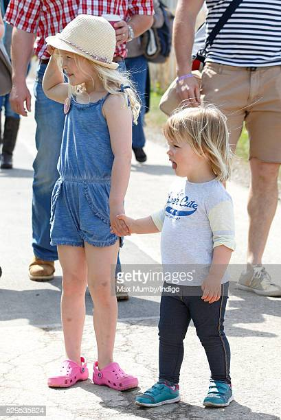 Savannah Phillips and cousin Mia Tindall attend the Badminton Horse Trials on May 8 2016 in Badminton England