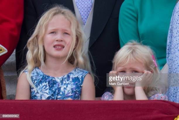 Savannah Phillips and Isla Phillips on the balcony at Buckingham Palace during the annual Trooping The Colour parade on June 17 2017 in London England