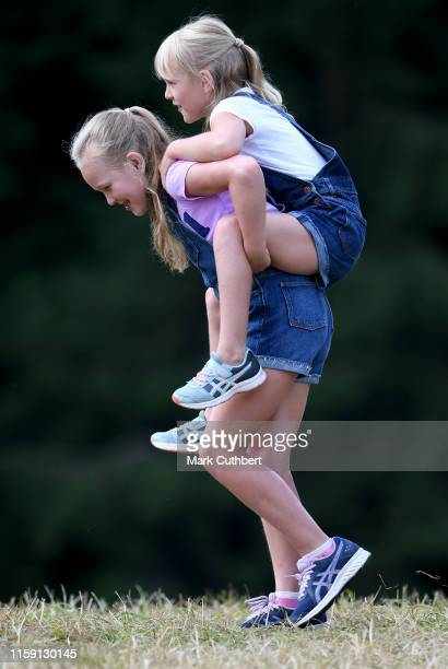Savannah Phillips and Isla Phillips play during the 2019 Festival of British Eventing at Gatcombe Park on August 2 2019 in Stroud England
