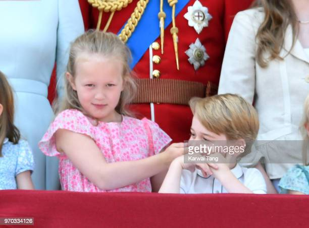 Savannah Phillips and Prince George of Cambridge on the balcony of Buckingham Palace during Trooping The Colour 2018 at The Mall on June 9 2018 in...