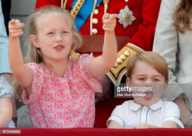 Savannah Phillips and Prince George of Cambridge stand on the balcony of Buckingham Palace during Trooping The Colour 2018 on June 9 2018 in London...